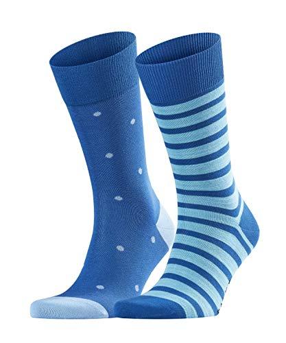 FALKE Herren Even Stripe Dot 2-Pack Socken, Mehrfarbig (Paris Blue 6057), 39/42 (2er Pack) (Blue-stripe-socken)