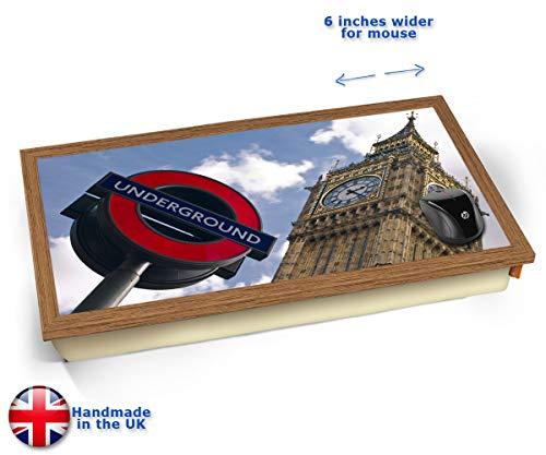 London Underground & Big Ben Cushioned Bean Bag Laptop Lap Tray Desk - Built-in EMF Shield (Electro...