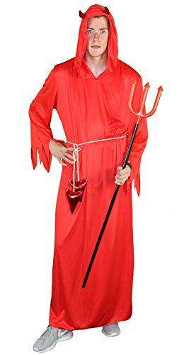 Erzengel Kostüm - Foxxeo 40250 I Teufelkostüm rot Herren Damen Teufel Kostüm Halloween Kapuze Hörner Gr. M-XXL, Größe:XXL