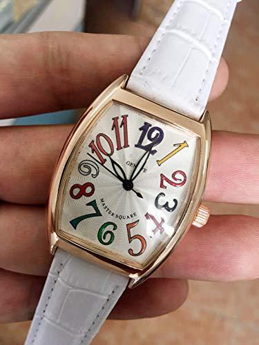 PLKNVT Quarz Marke Neue Herren Damenuhr Mode Schwarz Weiß Lederband Kleid Armband Rose Gold Lady HerrenuhrenDamen (Kleid Herren Seiko Uhren)