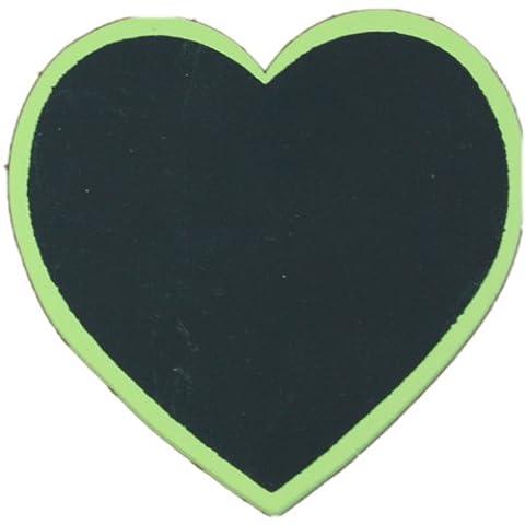 Pack of 10 Green Heart Shaped Blackboard Place Settings / Photo Line