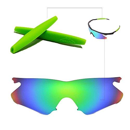 Walleva Wechselgläser Und Earsocks für Oakley M Frame Heater Sonnenbrille - Mehrfache Optionen (Smaragd Polarisierte Linsen + Grüner Gummi)