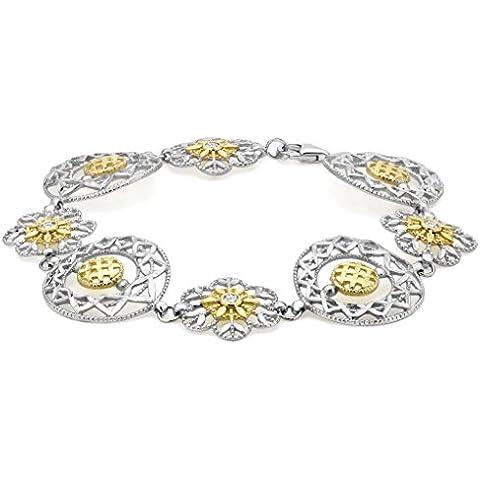 9ct 2color dorado claro piedra corte de diamante Filigrana flor y círculo enlace pulsera 19cm/7.5