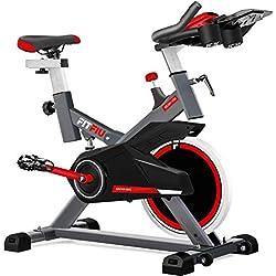 Fitfiu - BESP100 Silent+ Bicicleta spinning indoor con volante de inercia de 16kg, cuadro de acero con suspensión, pulsometro, regulable