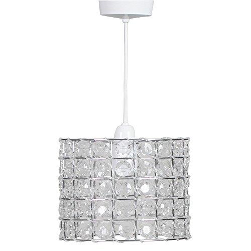 Chrome-transparent-tisch-lampe (KLiving Banbury B22 Lampenschirm für Hängelampe, Acryl, 60 W, nicht elektrisch, silberfarben/transparent)