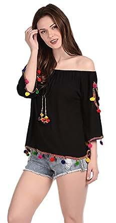 Damen Mode Girls' Top (Dmlt16000_Black_Free Size)