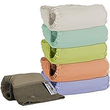 Close Parent 3121001014 - Pack de 5 pañales de tela en colores pastel con interior de bambú + 1 absorbente de noche