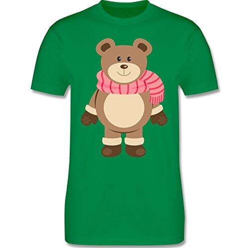 Weihnachten & Silvester - Winter Teddy mit Schal - Herren Premium T-Shirt Grün