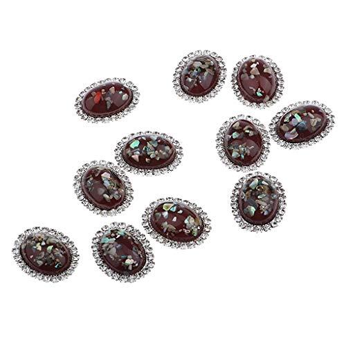 P Prettyia 10 Stück Legierung Strass Perlen Taste Knöpfe Flatback DIY Verzierungen Hochzeit Telefon Deko - rot (Perle Strass Und Tasten)