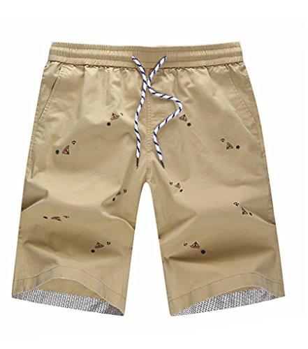 NiSeng Homme Eté Casual Grandes Tailles Slim Dessin Animé Impression Pantacourt Shorts De Bain Shorts De Plage Surf Swim Shorts Kaki