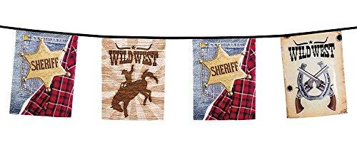 Neu: 1 Wimpelkette * Sheriff * für Kindergeburtstag und Motto-Party | Wilder Westen Cowboy Amerika Kinder Geburtstag Motto Party Girlande Deko Dekoration