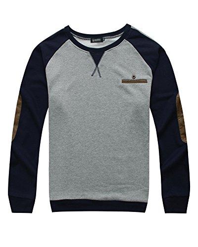 Herrenhemd Größe Größe Langarm T-Shirts mit Rundhalsausschnitt Sweatshirt - XXL/3XL/4XL/5XL/6XL/7XL Grau