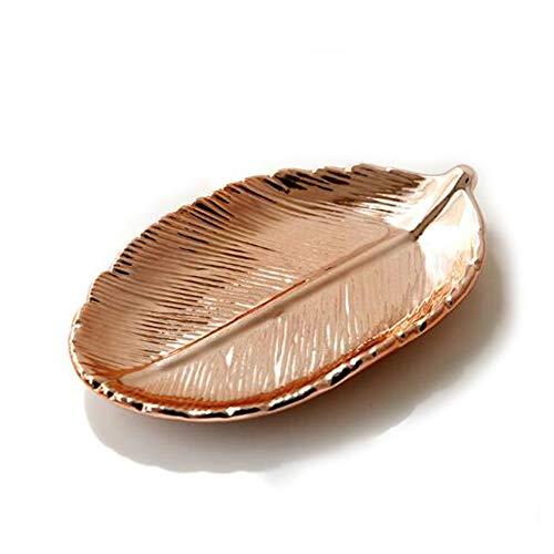 Ankamal Elec Leaf Schmuckplatte Gold Schmuck Aufbewahrungsplatte Keramik Schmuckständer Ring Halter Dekoration Schmuck Halter Organizer Schmuckständer (Rose Gold) -