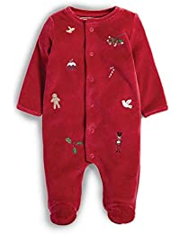83daa05a0 Mamas & Papas Red Velour All in One Embroidery Detailing Christmas  Sleepsuit - 3-6
