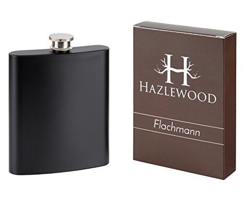 Hazlewood Edelstahl Flachmann in Schwarz matt, 7 oz, 200 ml