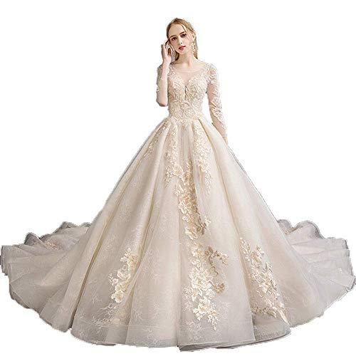 W-D Frauen-Ineinander Greifen-Lange Hülsen-Blumenspitze Appliques Langes Kapellen-Zug-Braut-Kleid-Hochzeits-Kleid für Hochzeit, Champagner, Groß
