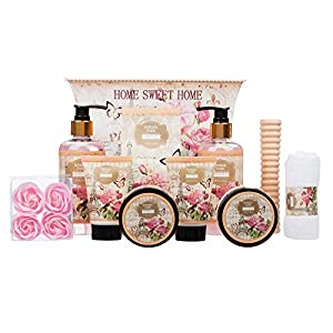 10 Piece Ladies Stylish Chic British Rose Body & Bath Spa Gift Set – Includes all Bathing Essentials Complete with Large…