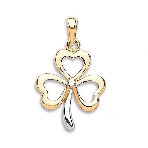 JQS- 9ct Yellow Gold 3 Leaf Clover Irish Shamrock Lucky Pendant 1.2g: With 18