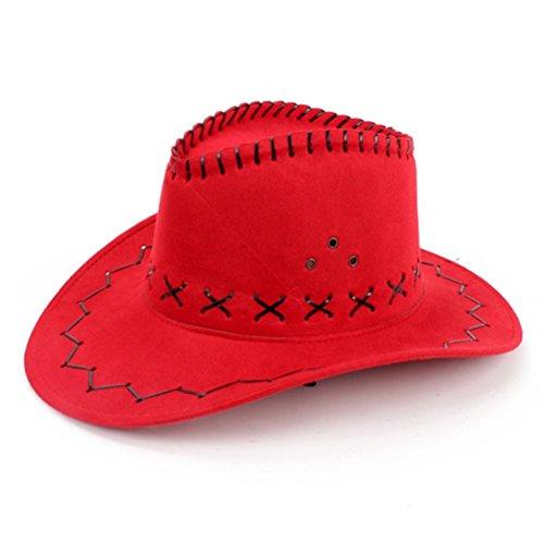 Cowboyhut aus Kunstveloursleder von Hmilydyk, mit Flanell-Kordel und -