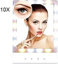 Euph Espejo para Maquillaje con Luces de 18 LED blanco cálido / frío Lupa Removeble de 10X Pantalla Táctil con Poro de Pared