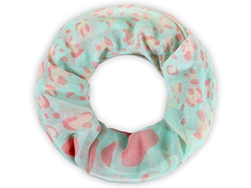Sciarpa a tubo circolare, foulard da donna leggero e morbido estate primavera autunno inverno loop anello ragazze colorati stola accessorio moderno lifestyle, Schals SCH-627.648:SCH-648c animale menta