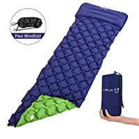 TOPLUS Camping Mat Inflatable, Sleeping Mat Waterproof Air Pad Double-Sided Color Portable & Foldable Self-Inflating Mats for Outdoor Backpacking Hiking (Blue + Green)