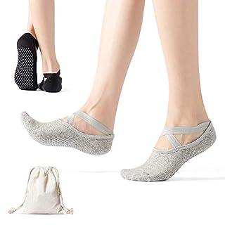AmazeFan Yoga Socks for Women Non-Slip Grips & Straps, Ideal for Pilates, Pure Barre Ballet Dance Workout Socks 3 Pairs Of Black