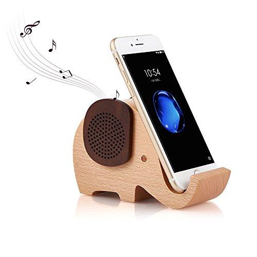 Artinova Bluetooth-Lautsprecher aus Holz in süßer Elefantenform, multifunktional, kabellos, mit Smartphone-Ständer, ARTA-0031