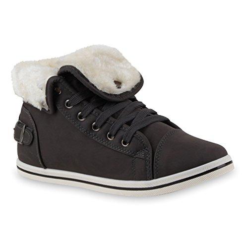 Warme Damen Sneakers Winter Sportschuhe Schnürer Gefüttert Dunkelgrau Schnürer