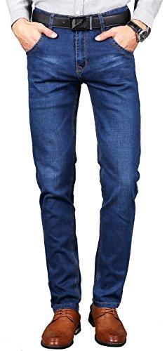 Faston Men Jeans Slim Fit Stretch Straight Denim Hose Jeanshosen Herren Dunkelblau