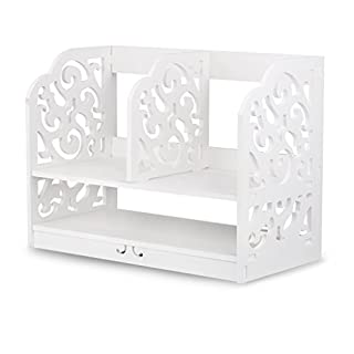 Finether 2-Tier Cut-Out Wood Plastic Composite Shelf Desktop Organizer Storage Rack with 3 Compartments for Home Kitchen Office Bedroom Bathroom, SGS Certified, White