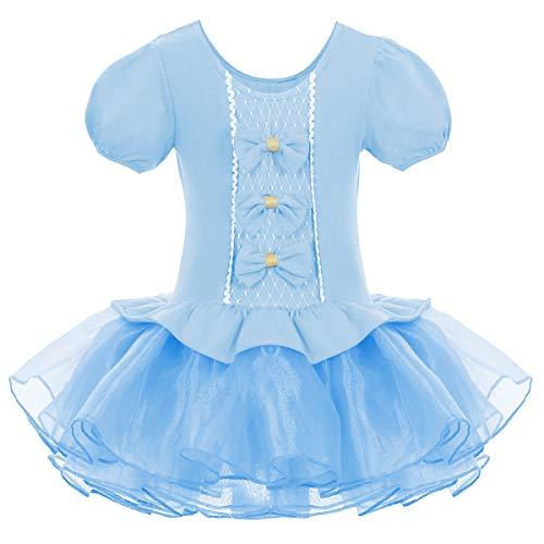 Kleinkind Kinder Mädchen Tutu Tüll Ballett Gymnastik Trikot Kleid mit Bowknot Ballerina Fancy Fairy Swan Kostüm Kinder Kurzarm Tanzbekleidung Blau 4-5 Jahre