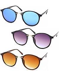 Stacle Metal Nose Bridge Retro Round Unisex Sunglasses Combo (ST3437 51 Multiple Colours)