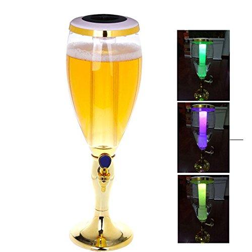 3L plástico cerveza Tower potable dispensador de bebidas con grifo y tubo de hielo para–Golden