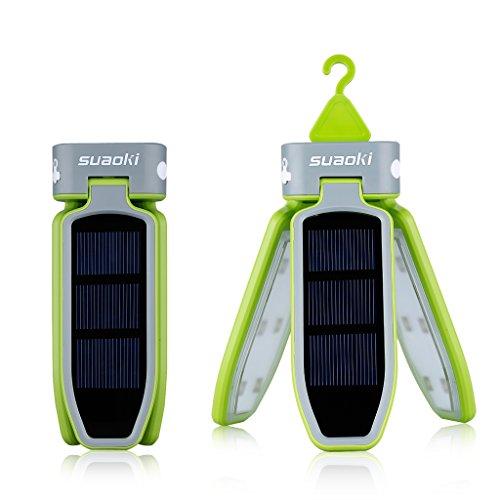 Suaoki 18 LED Solarleuchte Camping Laterne Zelt Solar Lampe faltbare Taschenlampe, USB & Solar Wiederaufladbare Laterne für Reisen, Camping, Wandern, Angeln, Außen Garten Innenhof, Notfall (Grün)