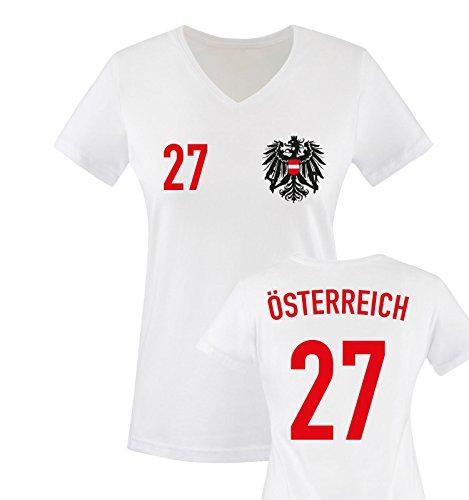 Trikot - ÖSTERREICH - 27 - Damen V-Neck T-Shirt - Weiss/Rot-Schwarz Gr. S