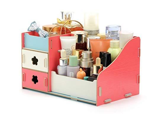 NOVELOVE Kosmetik Aufbewahrungsbox Desktop DIY Holz Make-up Box 25 X 16 X 13,5 cm stiche