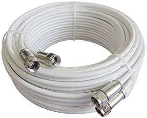 Mast Digital  15 m Twin Satellite Shotgun Cable Extension Kit with Premiu m Fitted Compression F Connectors for Sky and Freesat - White