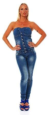10571 Fashion4Young Damen Jeans Overall Hosenanzug im Bandeau-Stil Blau Hose verfügbar in 5 Größen (XL=42, Dunkelblau)