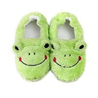HIUGHJ Children cartoon frog slippers toddler home shoes boy girl cotton slippers non-slip soft bottom indoor kids winter