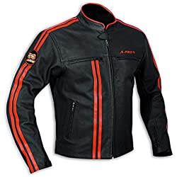 Blouson Cuir Homme Motard Moto Protections CE Veste Doublure Thermique Orange S