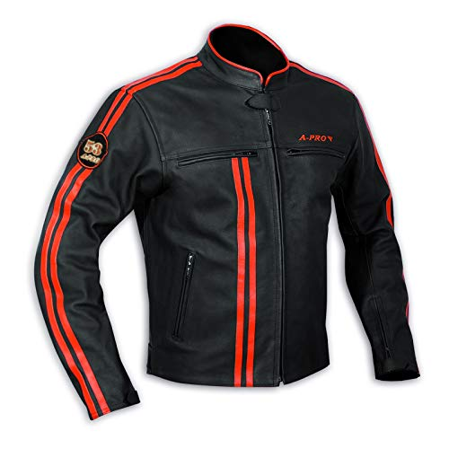 A-Pro Jacket Leather Mens Biker Motorcycle CE Protectors Armored Orange L