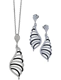 Orphelia Damen-Set: Halskette + Ohrringe 925 Sterling Silber Zirkonia schwarz-wei SET-5227