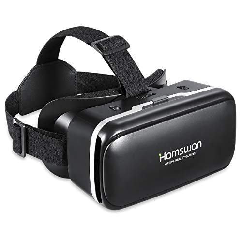 HAMSWAN Casques de Réalité Virtuelle, VR Lunettes 3D VR pour 3D Jeux et Films Compatibles avec iPhone, Samsung et Autres Smartphone (4,7 à 6,0 Pouces)