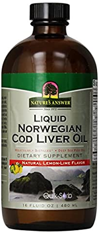Liquid Norwegian Cod Liver Oil, Natural Lemon-Lime Flavor, 16 fl oz (480 ml) - Nature's Answer