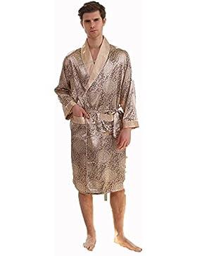 Hombres Solo Otoño Pieza De Seda Bata De Seda Delgada Sección Larga Pijamas XL Albornoz,Gold,L