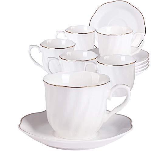 eetassen mit Untertassen 6er Set-Weiß Fine Porzellan Cappuccino Set 7OZ 220ml mit Schrägstriche Dekor und Gold Rand Design ()