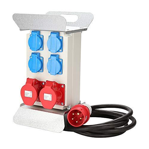 Hengda Verteiler Baustromverteiler Stromverteilung CEE 2 x 16A 400V+4x 230V 5 Polig IP44 Schuko Stromverteiler Wandverteiler Mit Sicherheitsklappdeckeln Leitung Für Baustelle