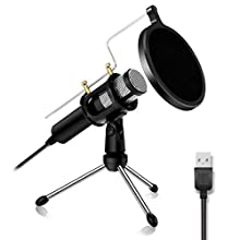 PC Microphone - NASUM USB Plug & Play Professional Home Studio Condenser Microphone USB Microphone for Podcast, Recording,Online Chatting, for PC,Laptop,Windows/Mac,with Tripod Stand Black