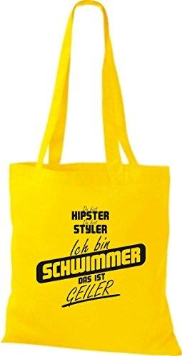 Shirtstown Stoffbeutel du bist hipster du bist styler ich bin Schwimmer das ist geiler gelb